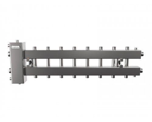 Гидрострелка с коллектором на 9 контуров до 150 кВт (балансировочный коллектор из нержавеющей стали BMSS-150-9DU)